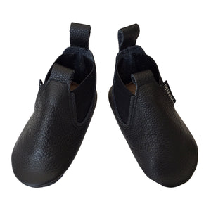 Black leather toddler boots