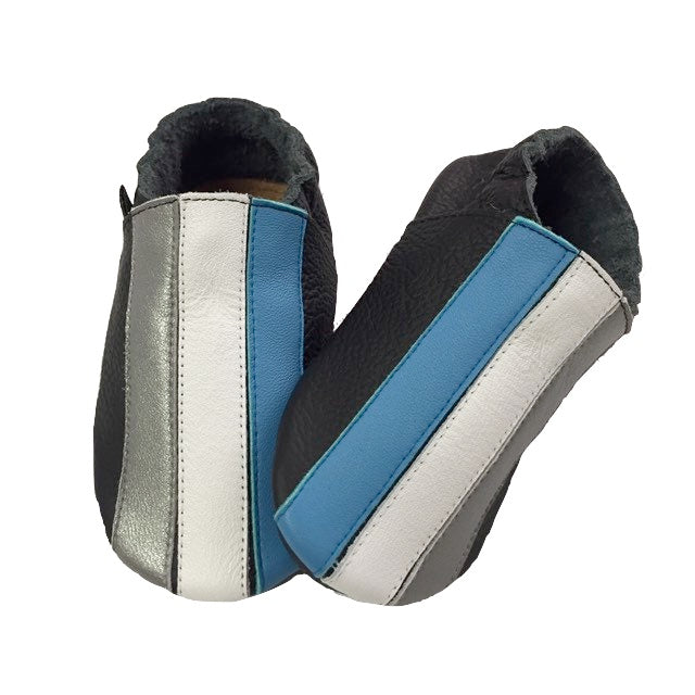 Black Blue White Silver Stripe Baby Shoes Front View