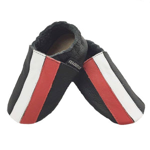 Black red white stripe baby shoes side view
