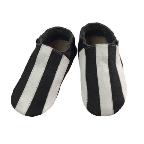Black white stripe baby shoes