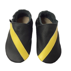 Black Yellow Stripe Baby Shoes Front View