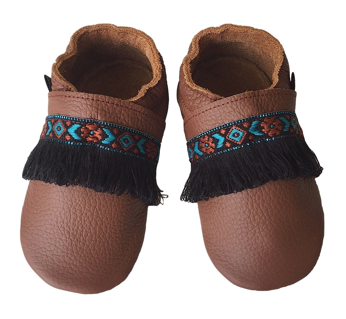 Brown leather boho baby shoes