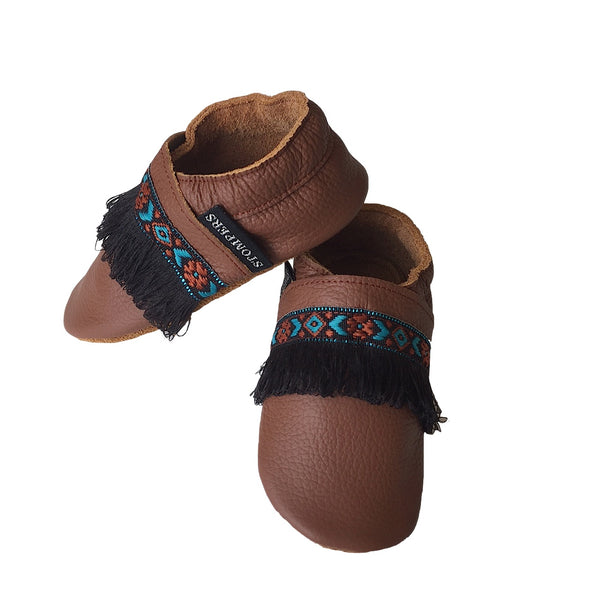 Brown leather boho baby shoes side