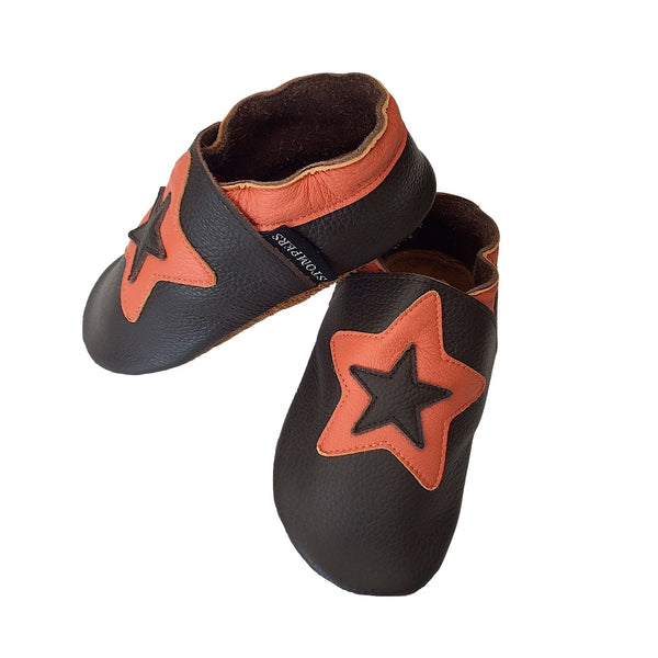 Choc orange star shoes side