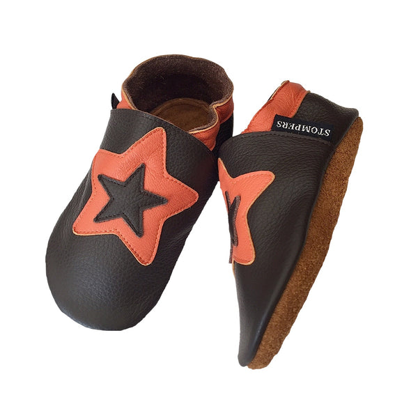 Choc orange star baby shoes sole