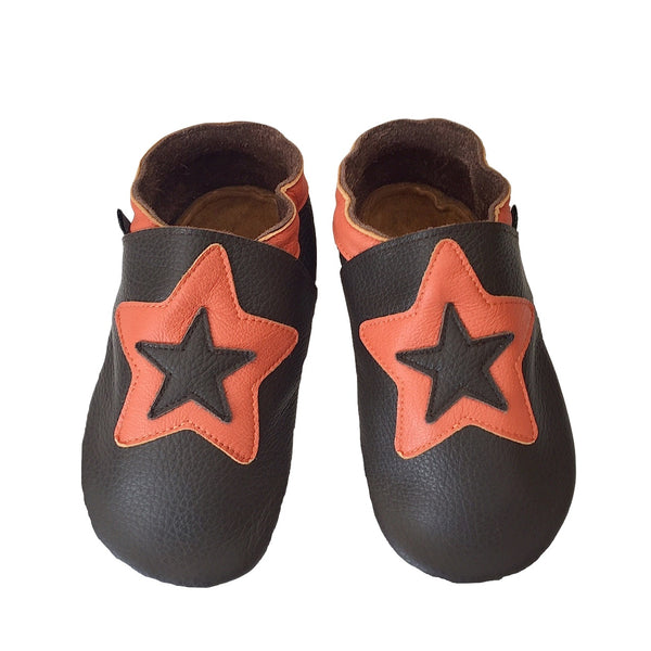 Choc orange star toddler shoes