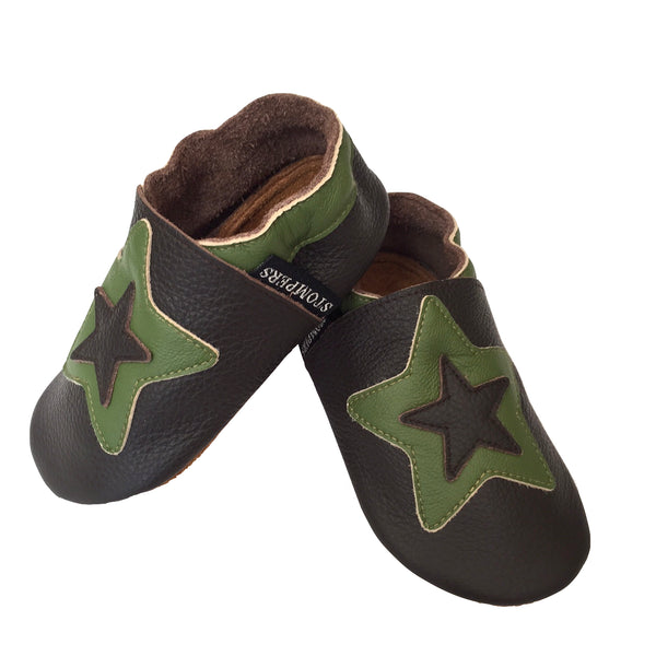 Chocolate sage star shoes side