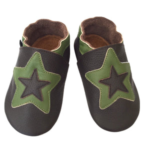 Chocolate sage star baby shoes