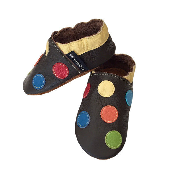 Chocolate yellow spotty shoes side