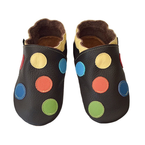 Chocolate yellow spotty boys shoes