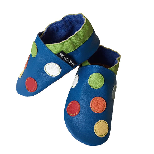 Cobalt lime spotty boys shoes side