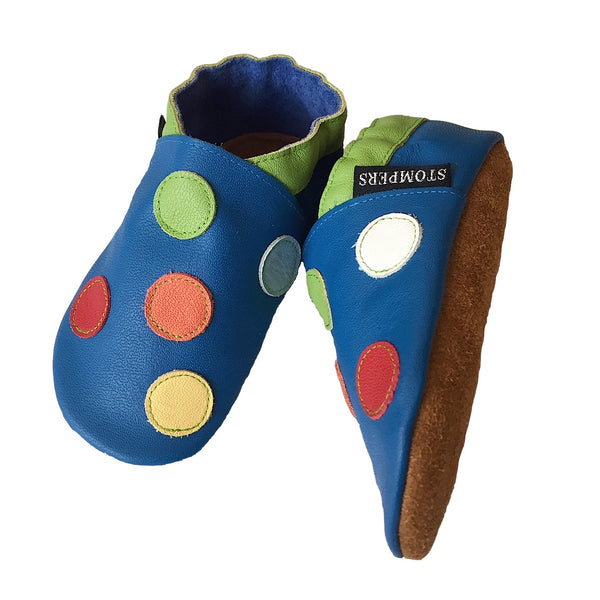 Cobalt lime spotty boys shoes sole