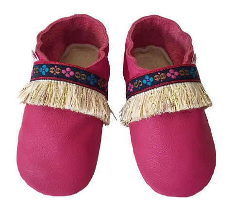 Fuchsia boho baby girl shoes