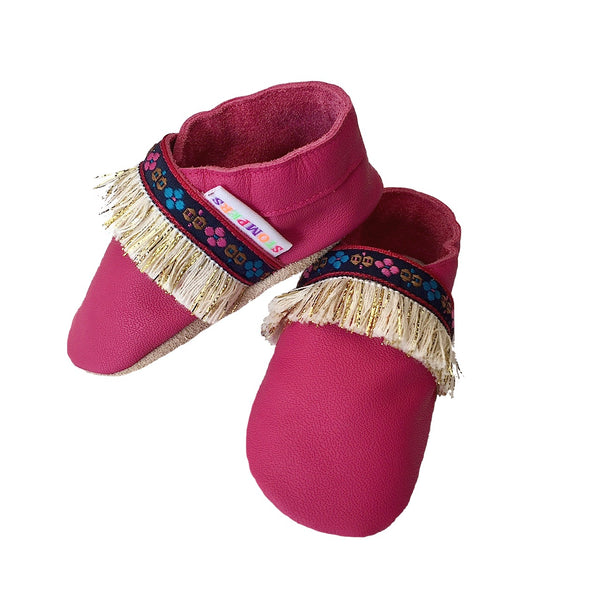 Fuchsia boho baby girl shoes side