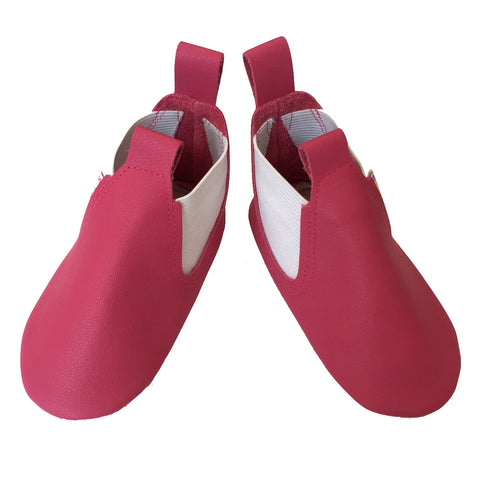 Fuchsia leather baby girl boots