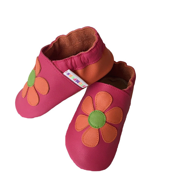 Fuchsia orange daisy shoes side