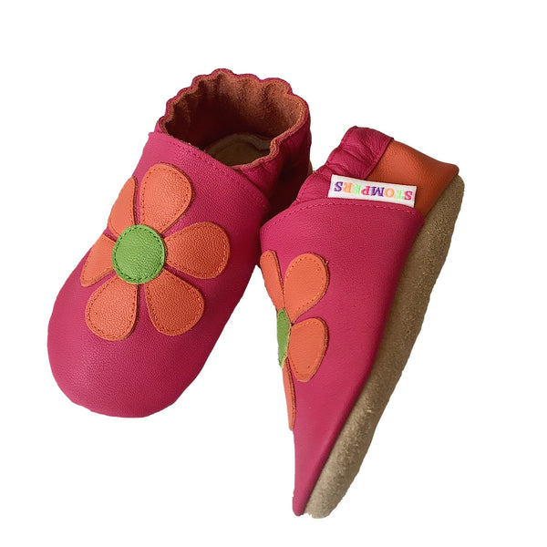 Fuchsia orange daisy shoes sole