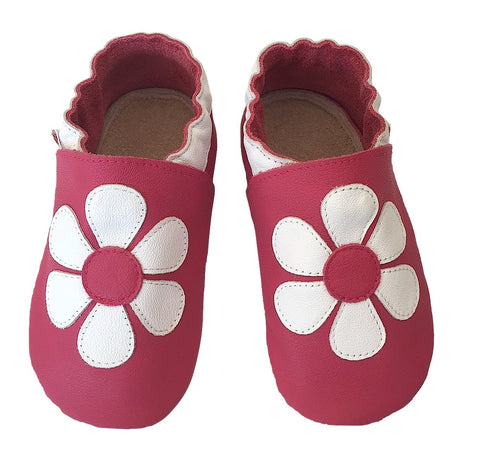 Fuchsia white daisy baby girl shoes