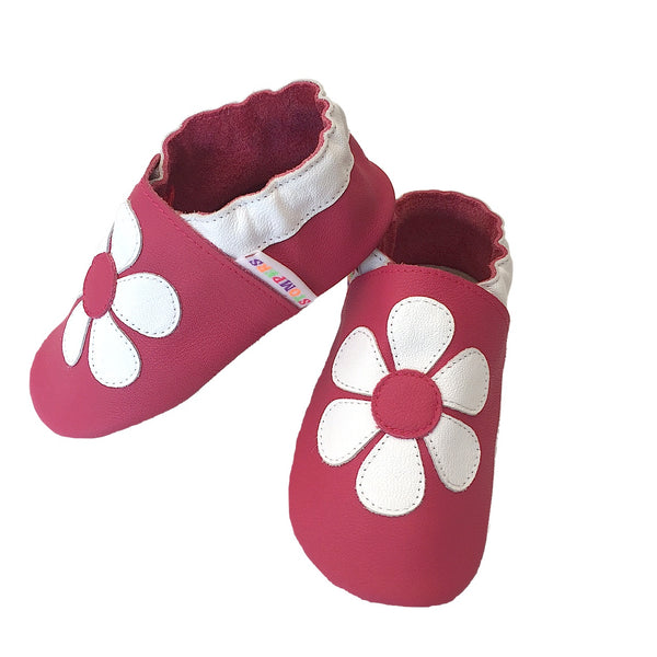 Fuchsia white daisy baby girl shoes side