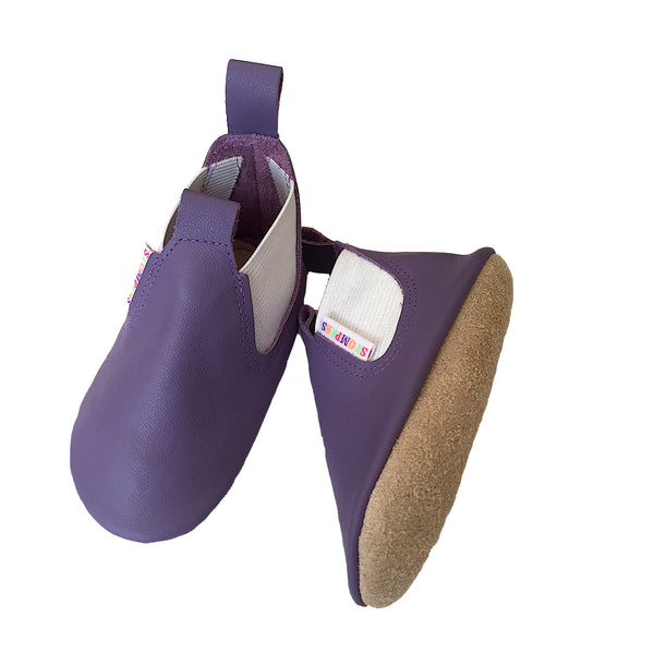 Mauve leather toddler boots sole