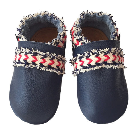 Navy leather boho baby shoes