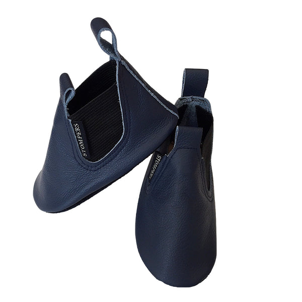 Navy leather soft sole toddler boots side