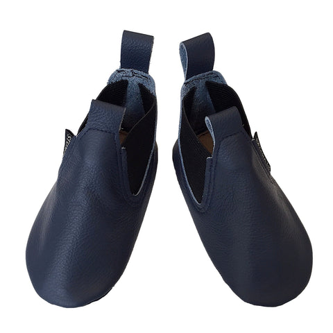 Navy leather soft sole toddler boots