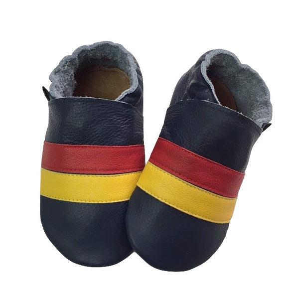 Navy Red Yellow Stripe Baby Shoes Front View