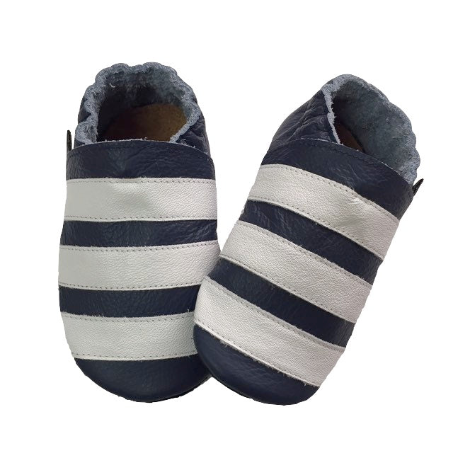 Navy White Stripe Baby Shoes Front View
