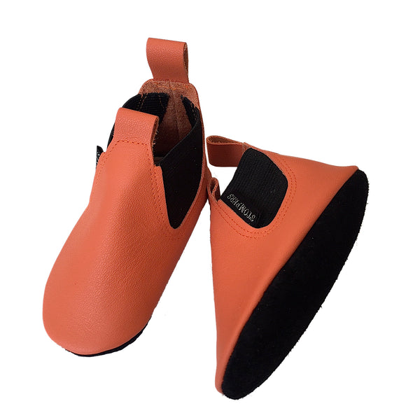 Orange leather baby boots sole