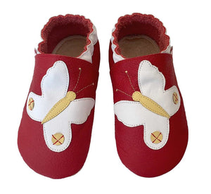 Red white butterfly baby shoes