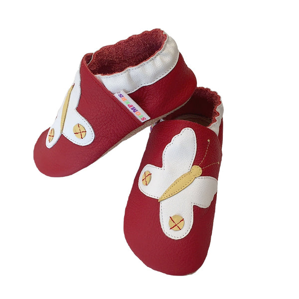 Red white butterfly baby shoes side