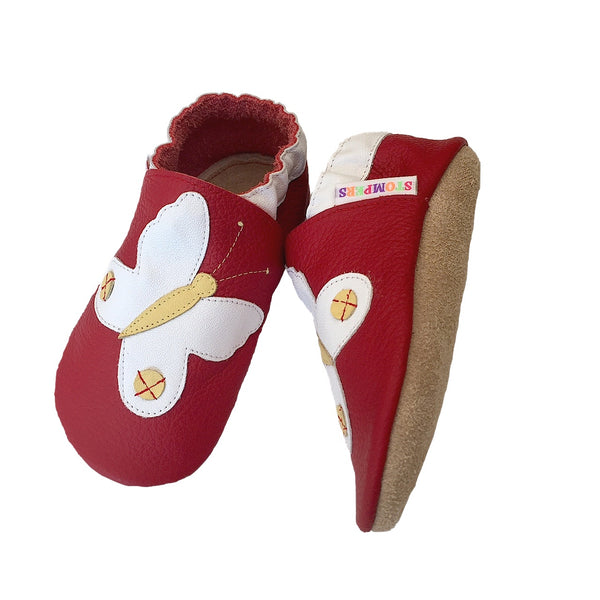 Red white butterfly baby shoes sole