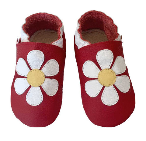 Red White Daisy Baby Shoes