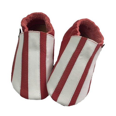 Red White stripe baby shoes front view