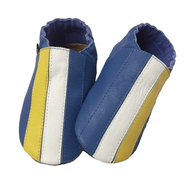 Cobalt yellow white stripe baby shoes front view