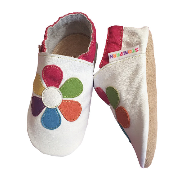 White Colourful Daisy Baby Shoes