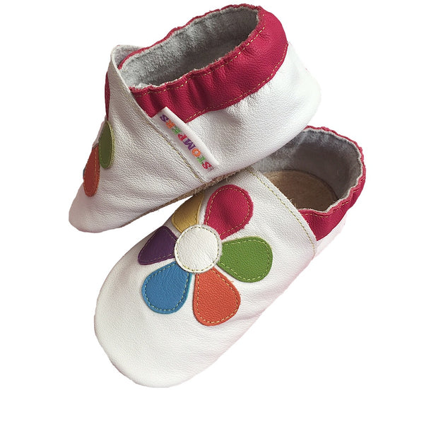 White baby shoes white label view