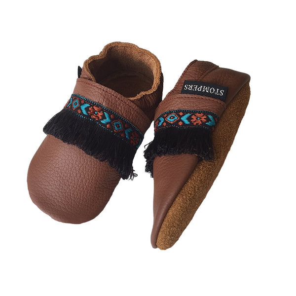 Brown leather boho baby shoes sole