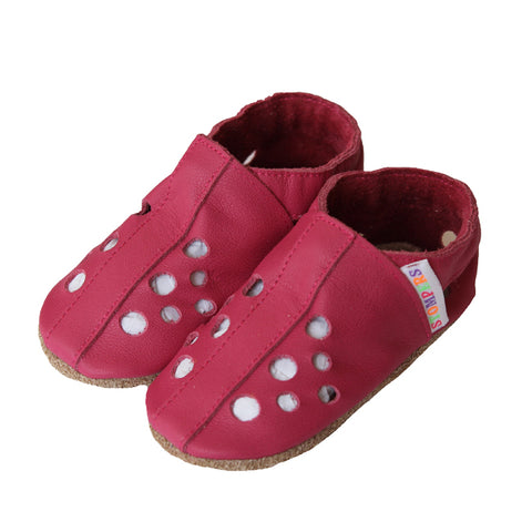Fuchsia leather baby girl sandals