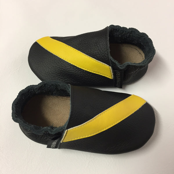 Black Yellow Stripe Baby Shoes Side View
