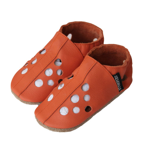 Orange leather baby sandals