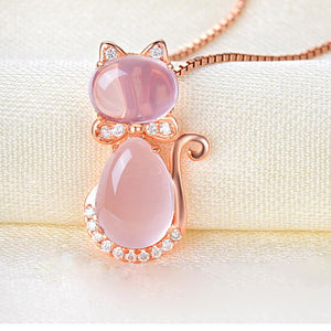 Rose Gold Crystal Cat Necklace