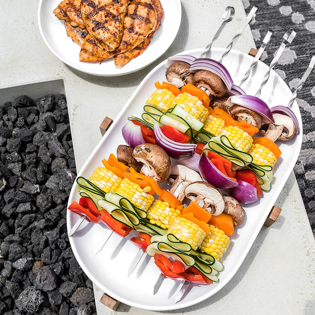 Grilled BBQ Chicken with Veggie Skewers Recipe
