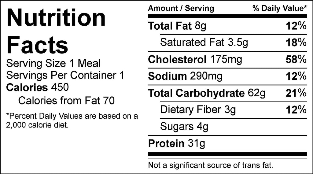 shrimp alfredo nutrition facts