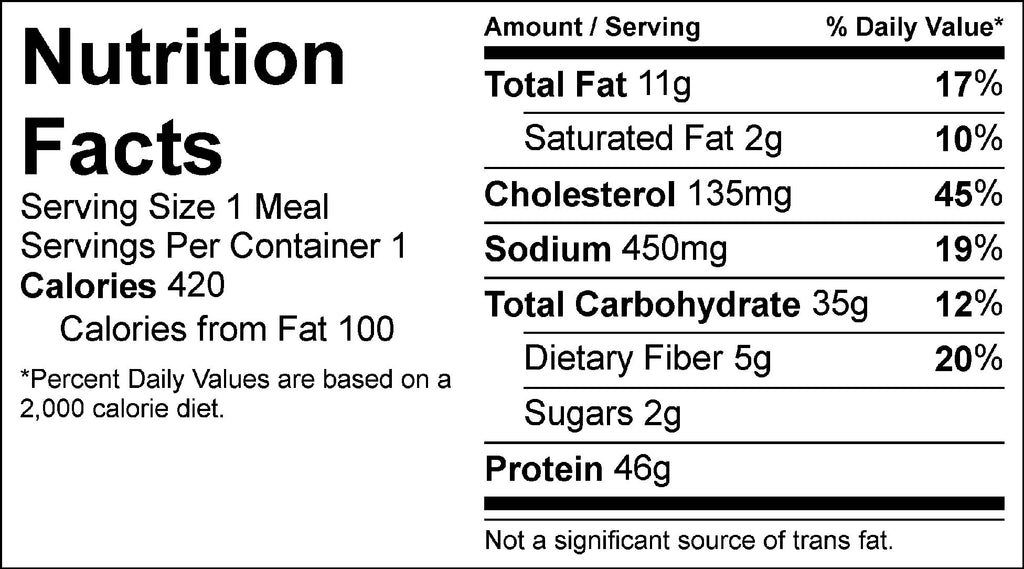 chicken and roasted potatoes nutrition facts