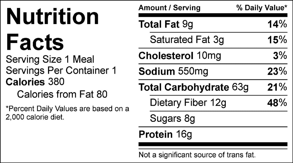 veggie fajita bowl nutrition facts