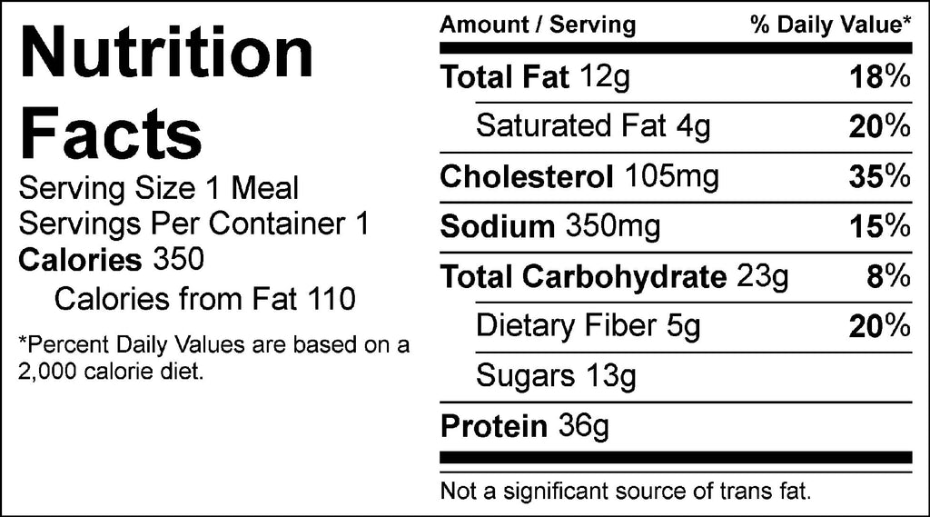 bbq chicken strips and veggies nutrition facts