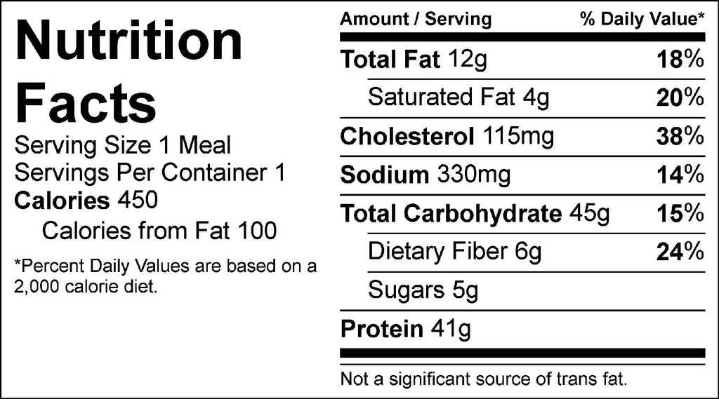 chicken burrito bowl nutrition facts