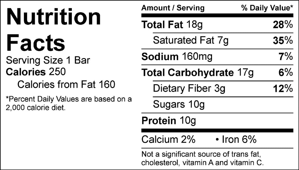 pb bliss bar nutrition facts